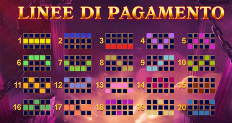 linee di pagamento slot Age of Gods paylines